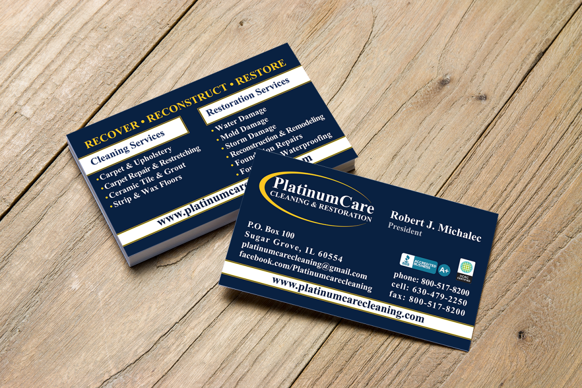 PlatinumCare Cleaning Business Cards - Pesola Media Group